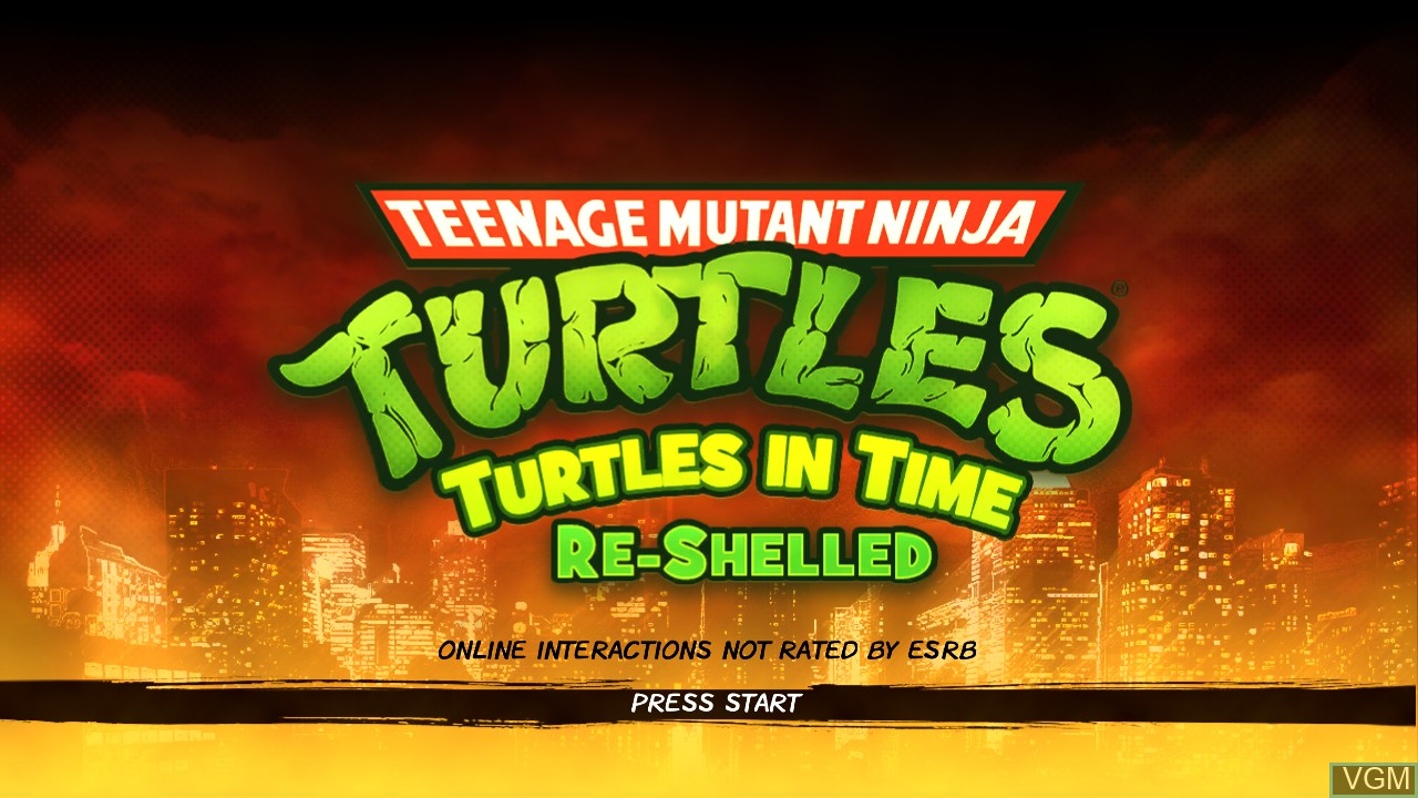 Title screen of the game Teenage Mutant Ninja Turtles - Turtles in Time Re-Shelled on Microsoft Xbox 360