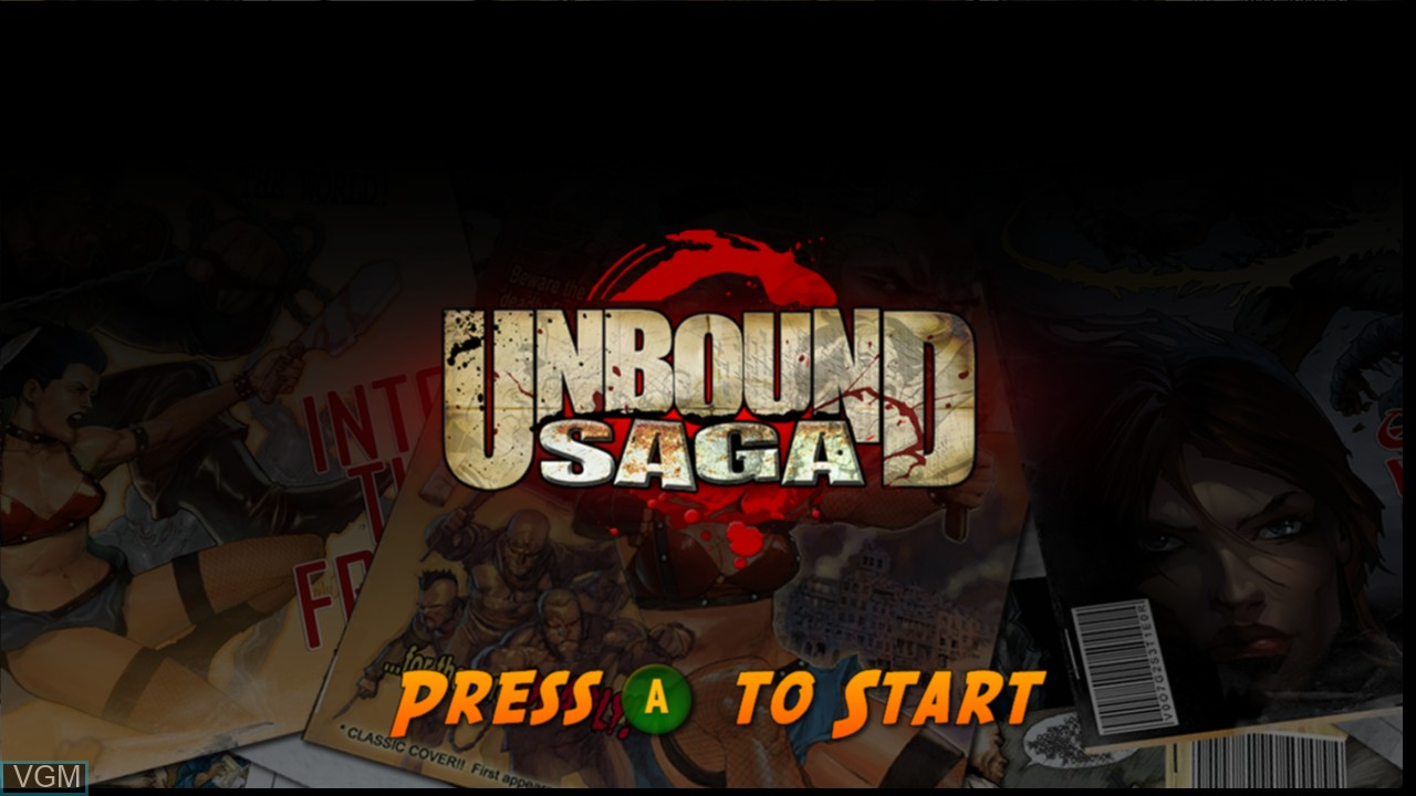 Title screen of the game Unbound Saga on Microsoft Xbox 360
