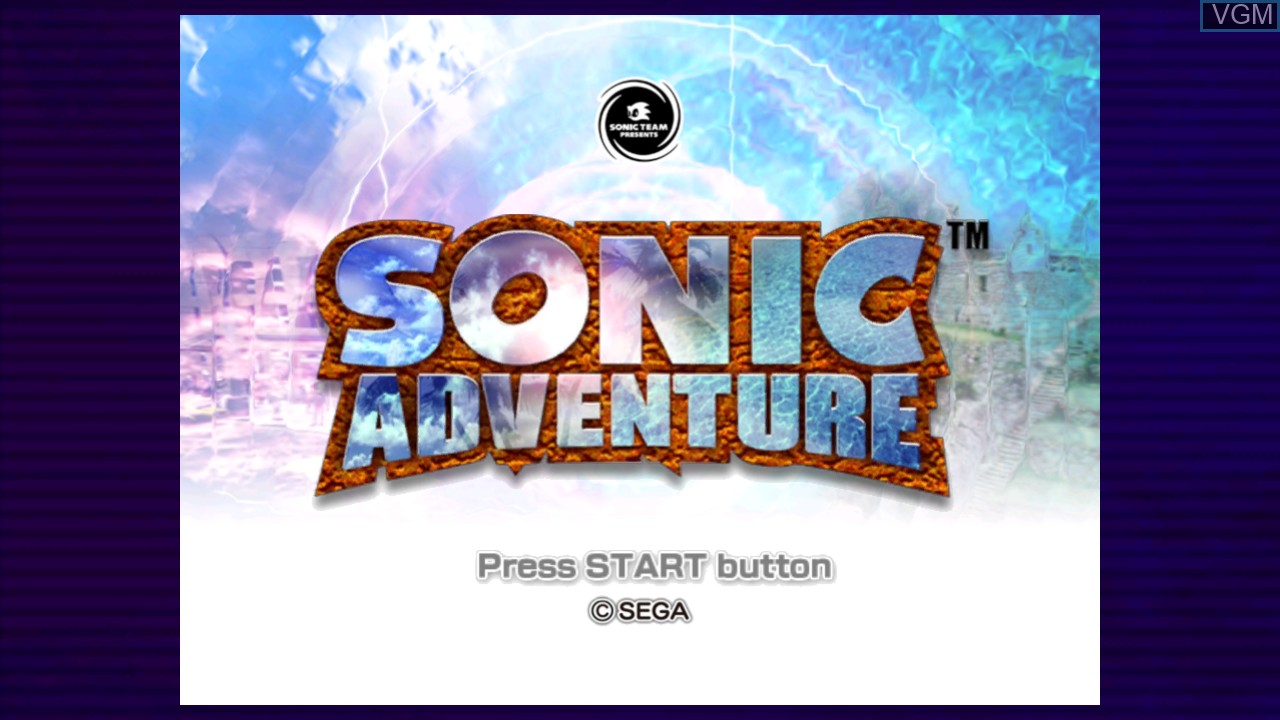 Title screen of the game Sonic Adventure on Microsoft Xbox 360