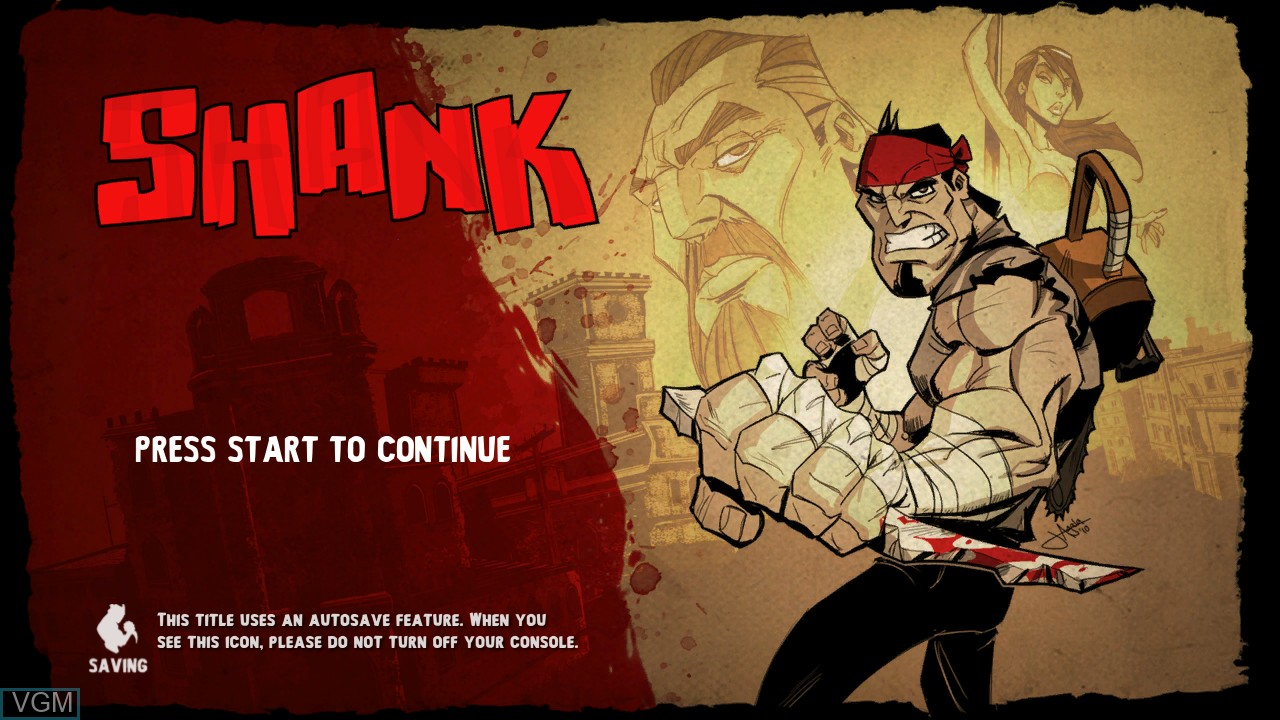 Title screen of the game Shank on Microsoft Xbox 360