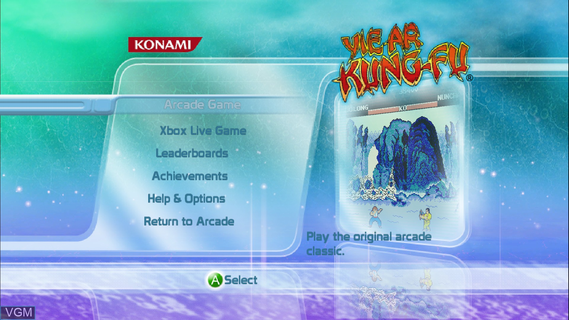 Title screen of the game Yie Ar Kung-Fu on Microsoft Xbox 360