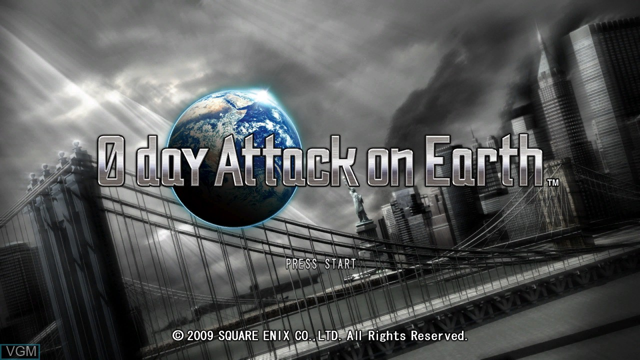 Title screen of the game 0 Day Attack on Earth on Microsoft Xbox 360