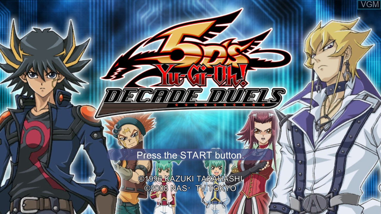 Title screen of the game Yu-Gi-Oh! 5D's Decade Duels on Microsoft Xbox 360