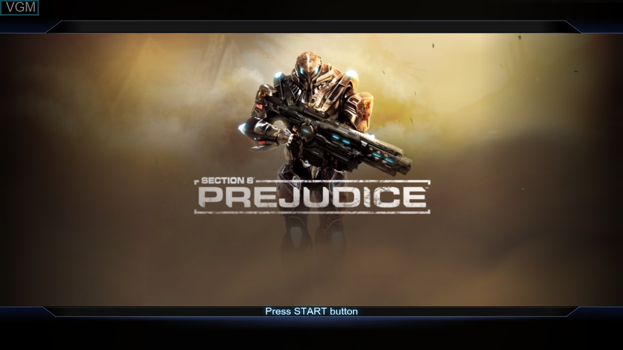 Title screen of the game Section 8 - Prejudice on Microsoft Xbox 360