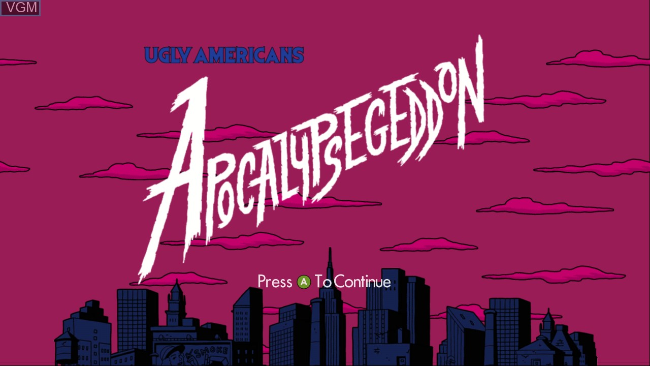 Title screen of the game Ugly Americans - Apocalypsegeddon on Microsoft Xbox 360