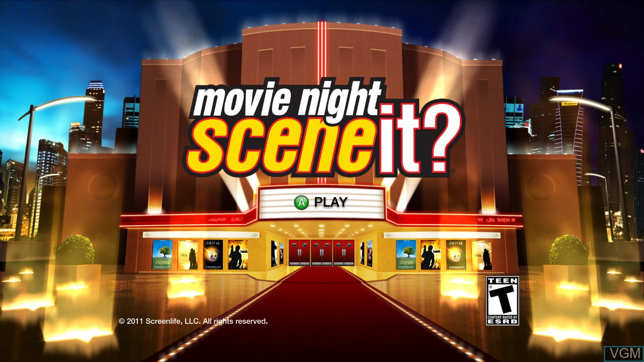 Title screen of the game Scene It? Movie Night on Microsoft Xbox 360