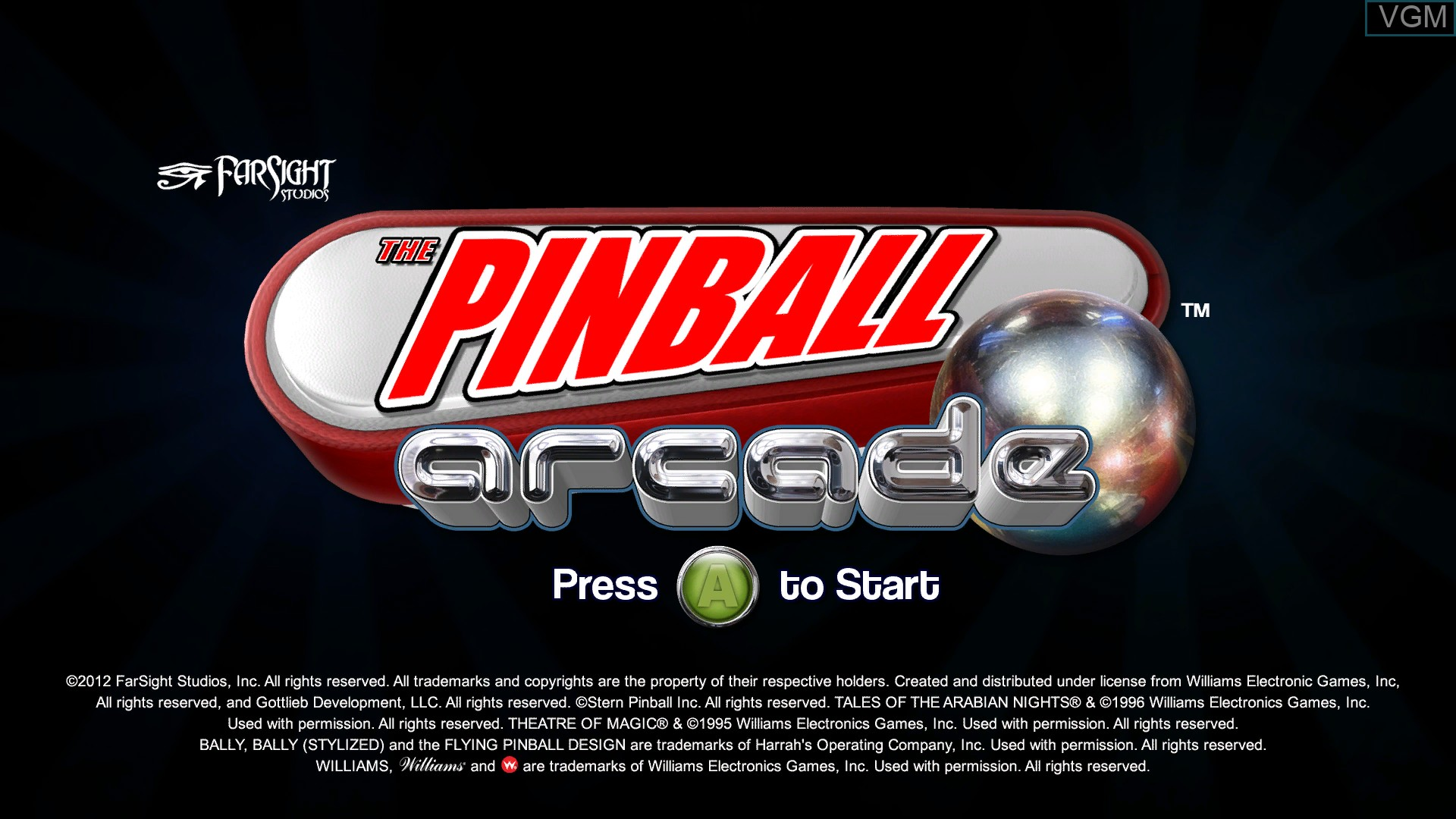 Title screen of the game Pinball Arcade, The on Microsoft Xbox 360