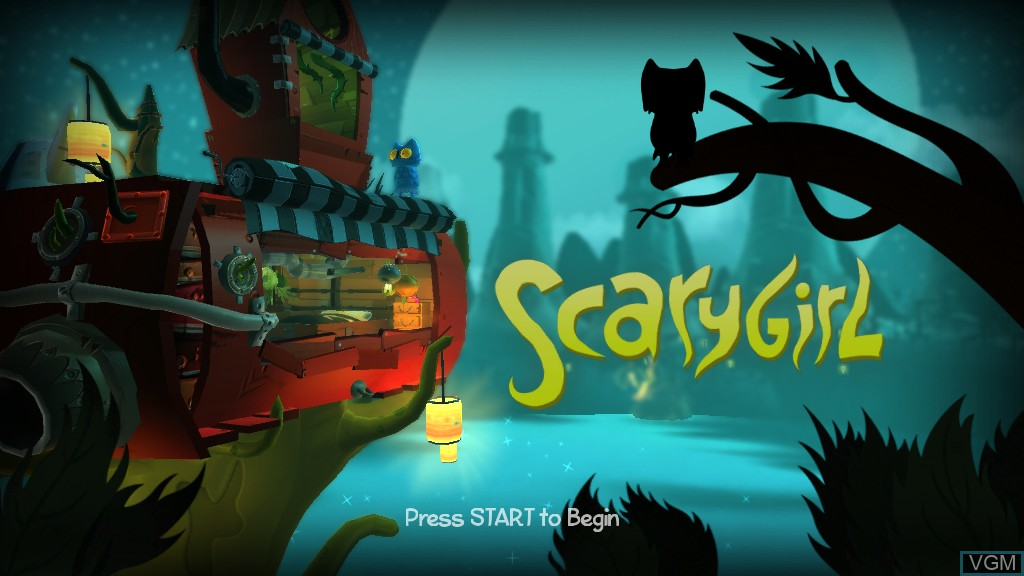 Title screen of the game Scarygirl on Microsoft Xbox 360