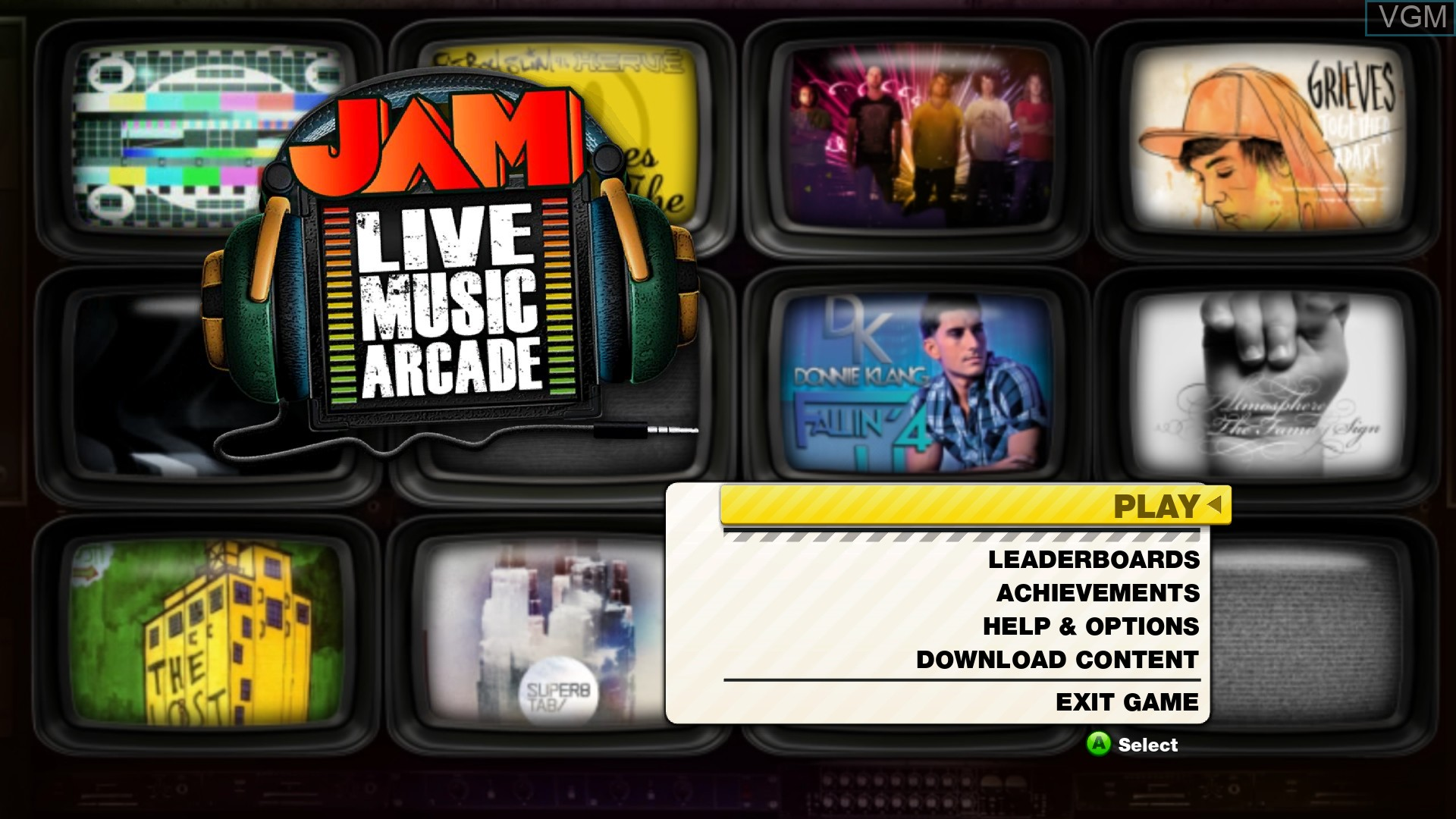 Title screen of the game JAM Live Music Arcade on Microsoft Xbox 360