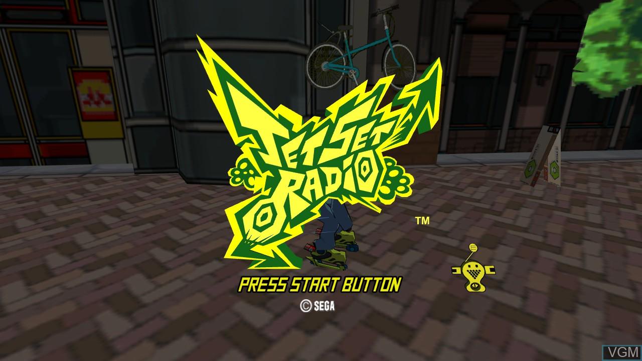 Title screen of the game Jet Set Radio on Microsoft Xbox 360