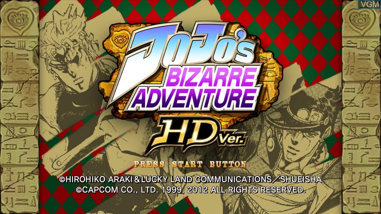 Title screen of the game JoJo's Bizarre Adventure HD Ver. on Microsoft Xbox 360