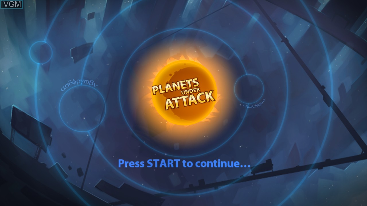 Title screen of the game Planets Under Attack on Microsoft Xbox 360