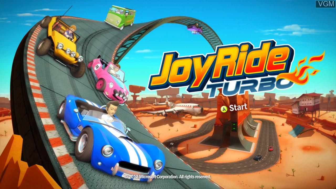 Title screen of the game Joy Ride Turbo on Microsoft Xbox 360