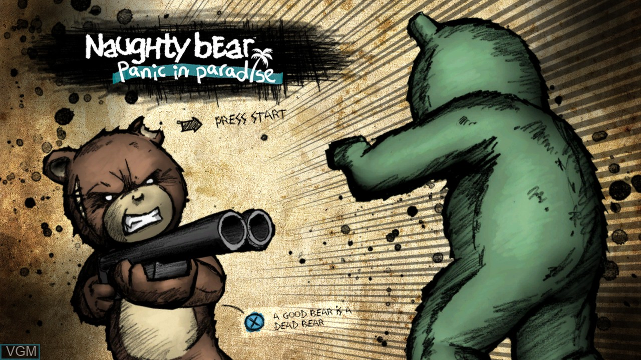 Title screen of the game Naughty Bear - Panic in Paradise on Microsoft Xbox 360