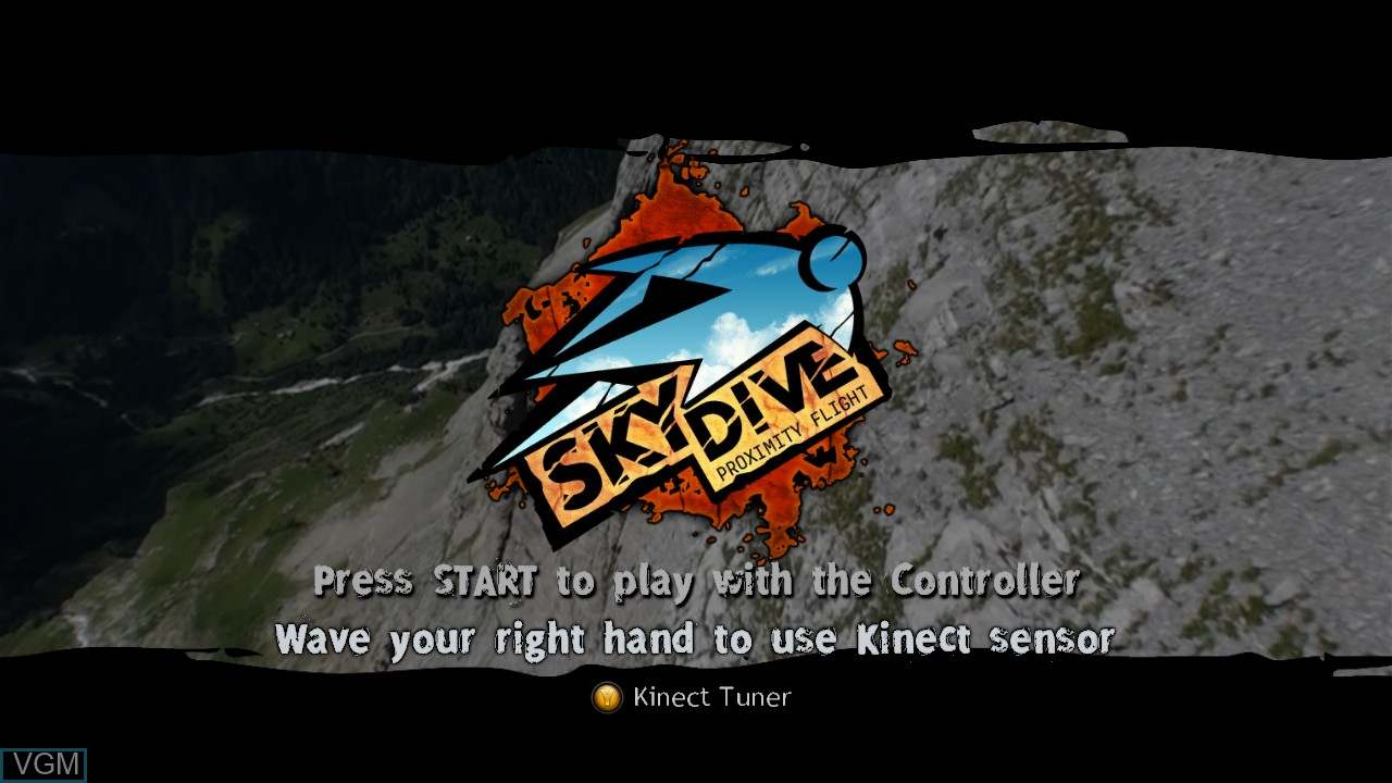Title screen of the game Skydive - Proximity Flight on Microsoft Xbox 360