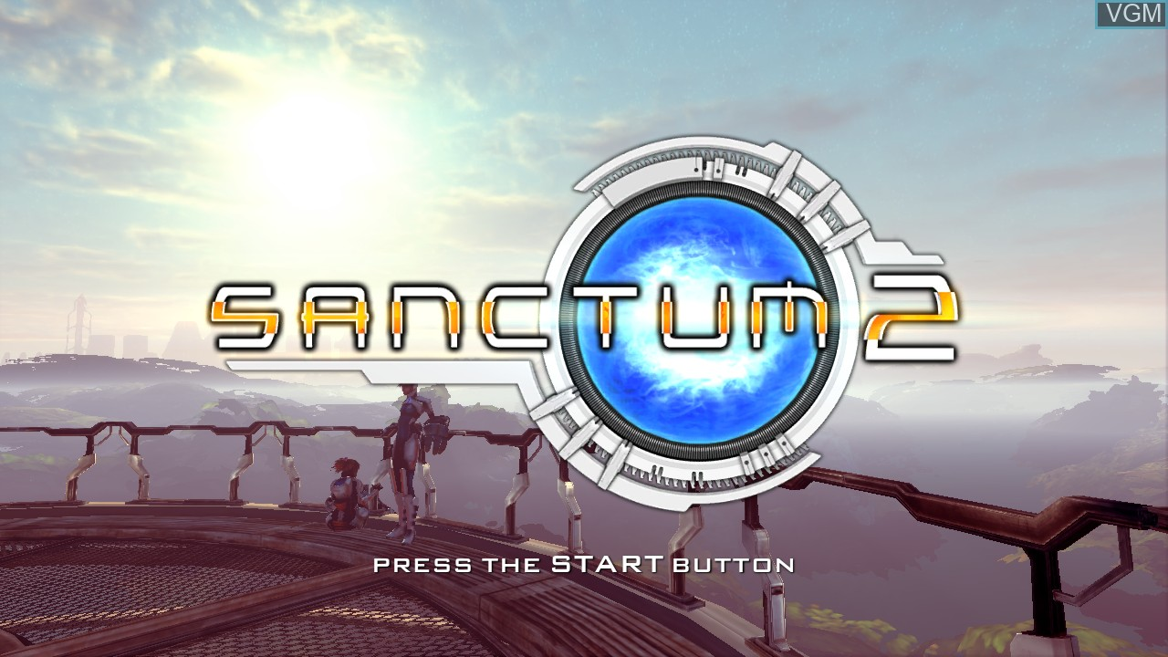 Title screen of the game Sanctum 2 on Microsoft Xbox 360