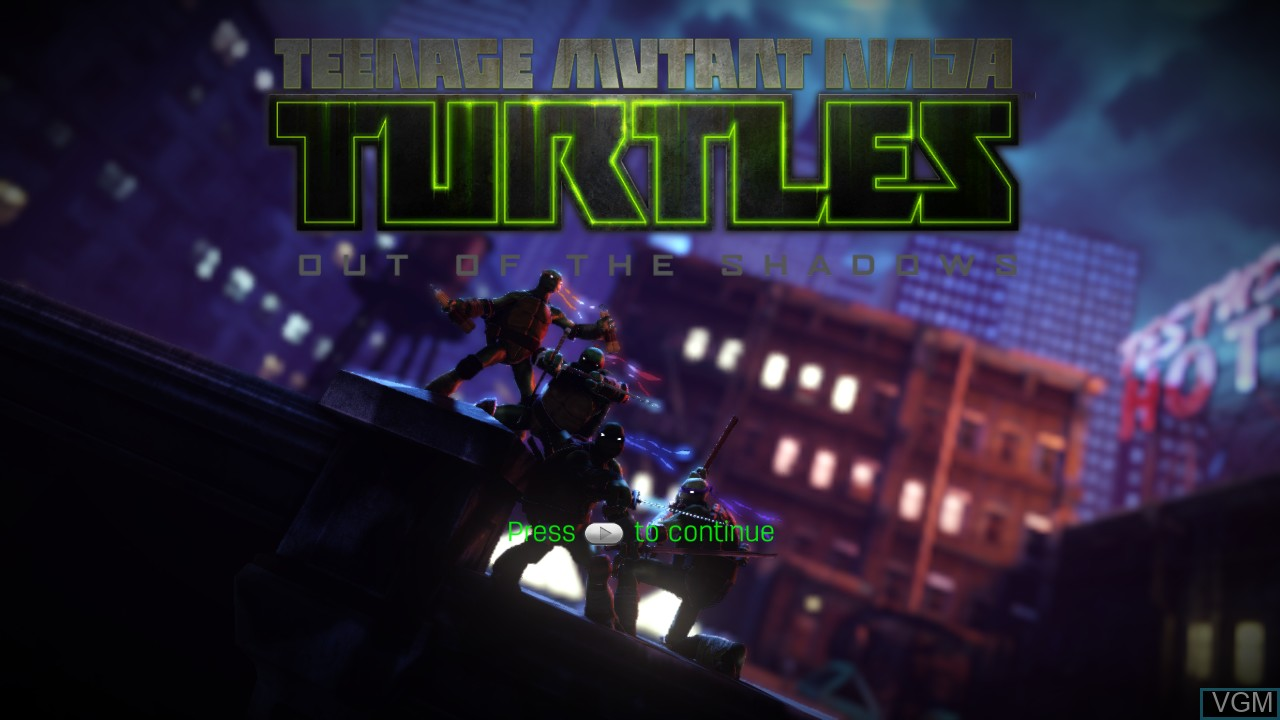 Title screen of the game Teenage Mutant Ninja Turtles - Out of the Shadows on Microsoft Xbox 360