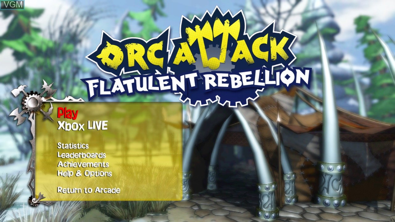 Title screen of the game Orc Attack - Flatulent Rebellion on Microsoft Xbox 360