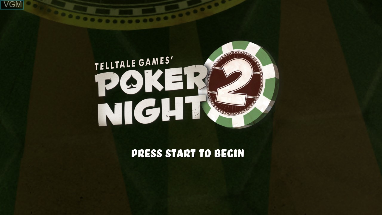 Title screen of the game Poker Night 2 on Microsoft Xbox 360