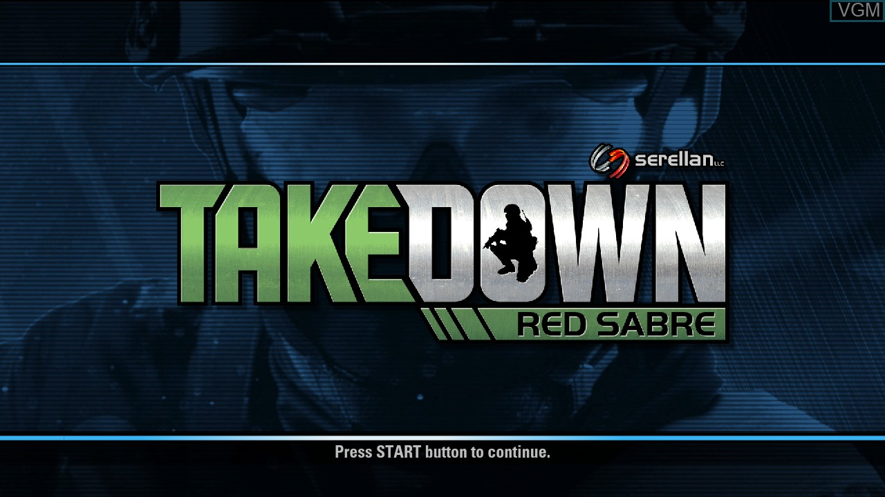 Title screen of the game Takedown - Red Sabre on Microsoft Xbox 360