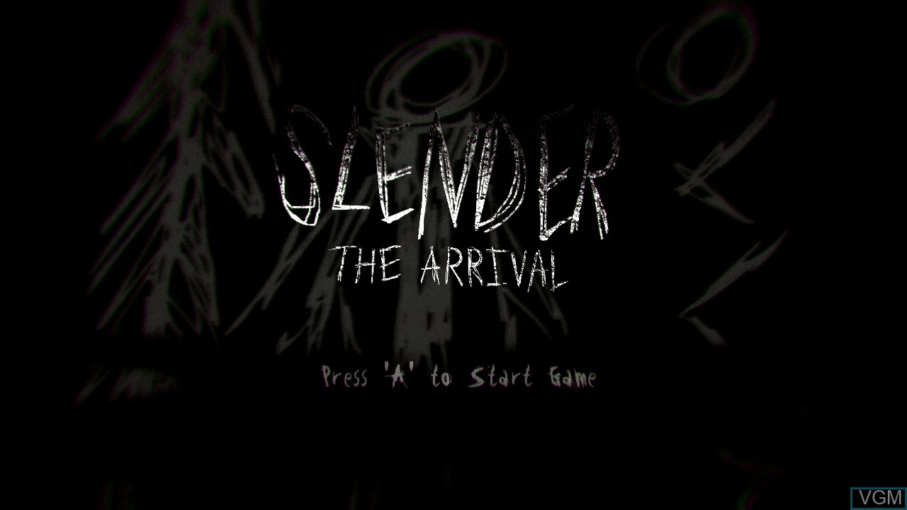 Title screen of the game Slender - The Arrival on Microsoft Xbox 360