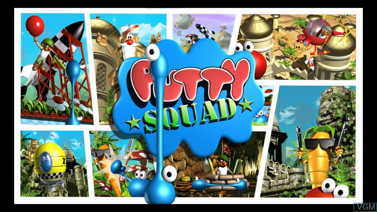 Title screen of the game Putty Squad on Microsoft Xbox 360
