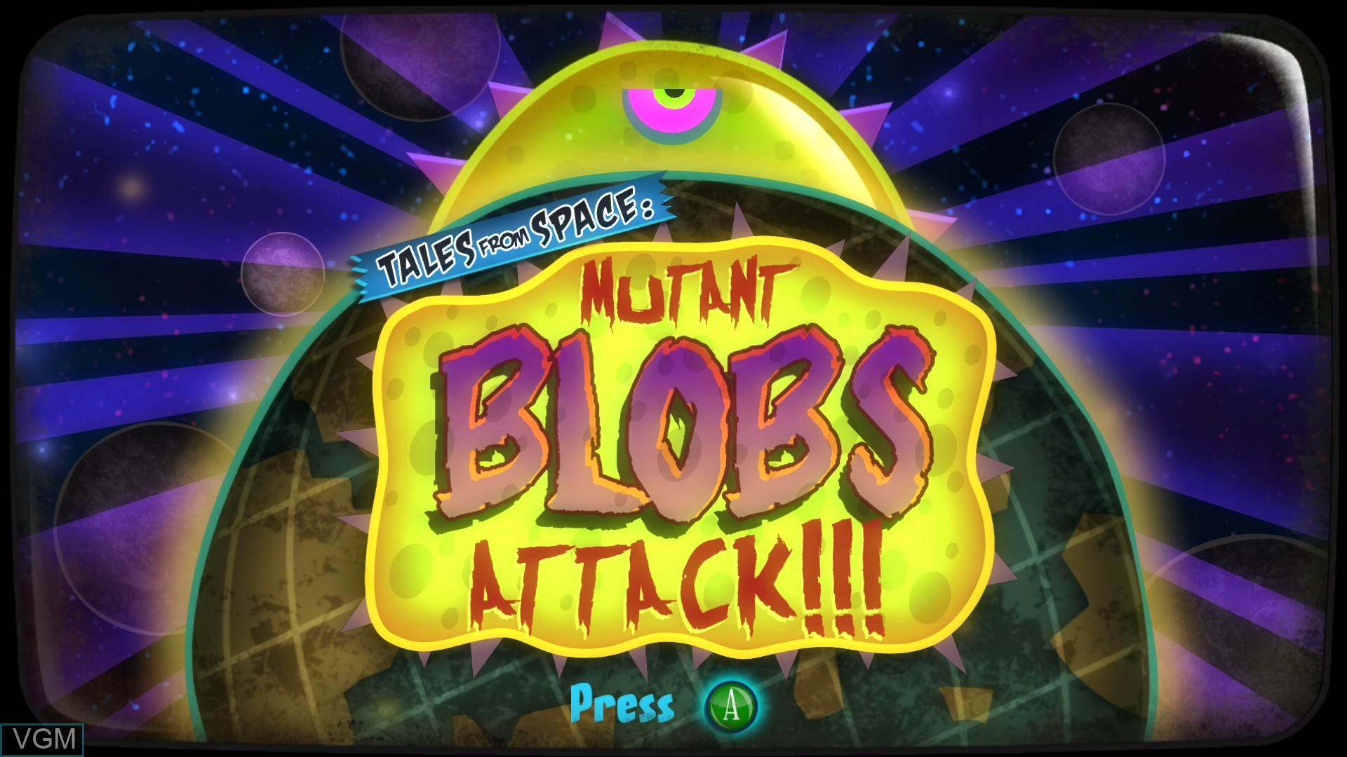 Title screen of the game Tales From Space - Mutant Blobs Attack on Microsoft Xbox 360