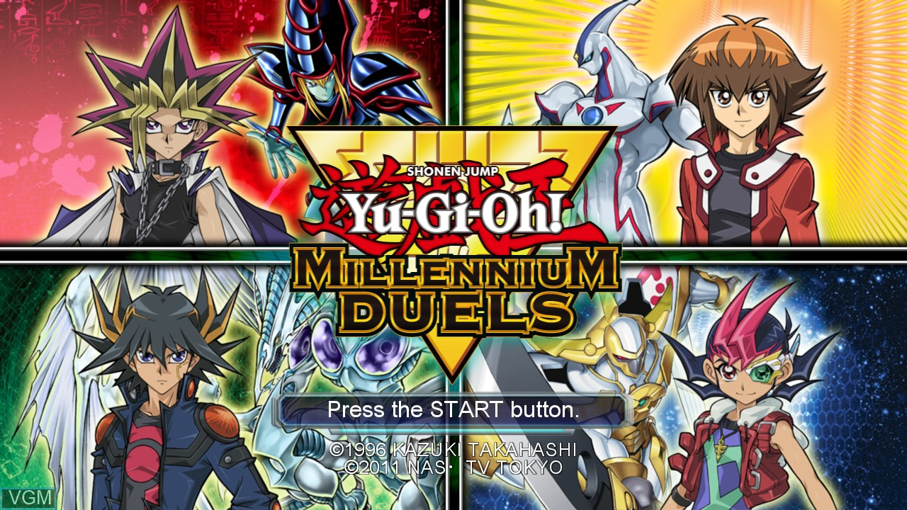 Title screen of the game Yu-Gi-Oh! Millennium Duels on Microsoft Xbox 360
