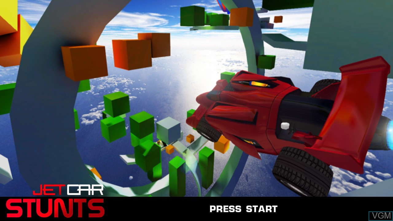 Title screen of the game Jet Car Stunts on Microsoft Xbox 360