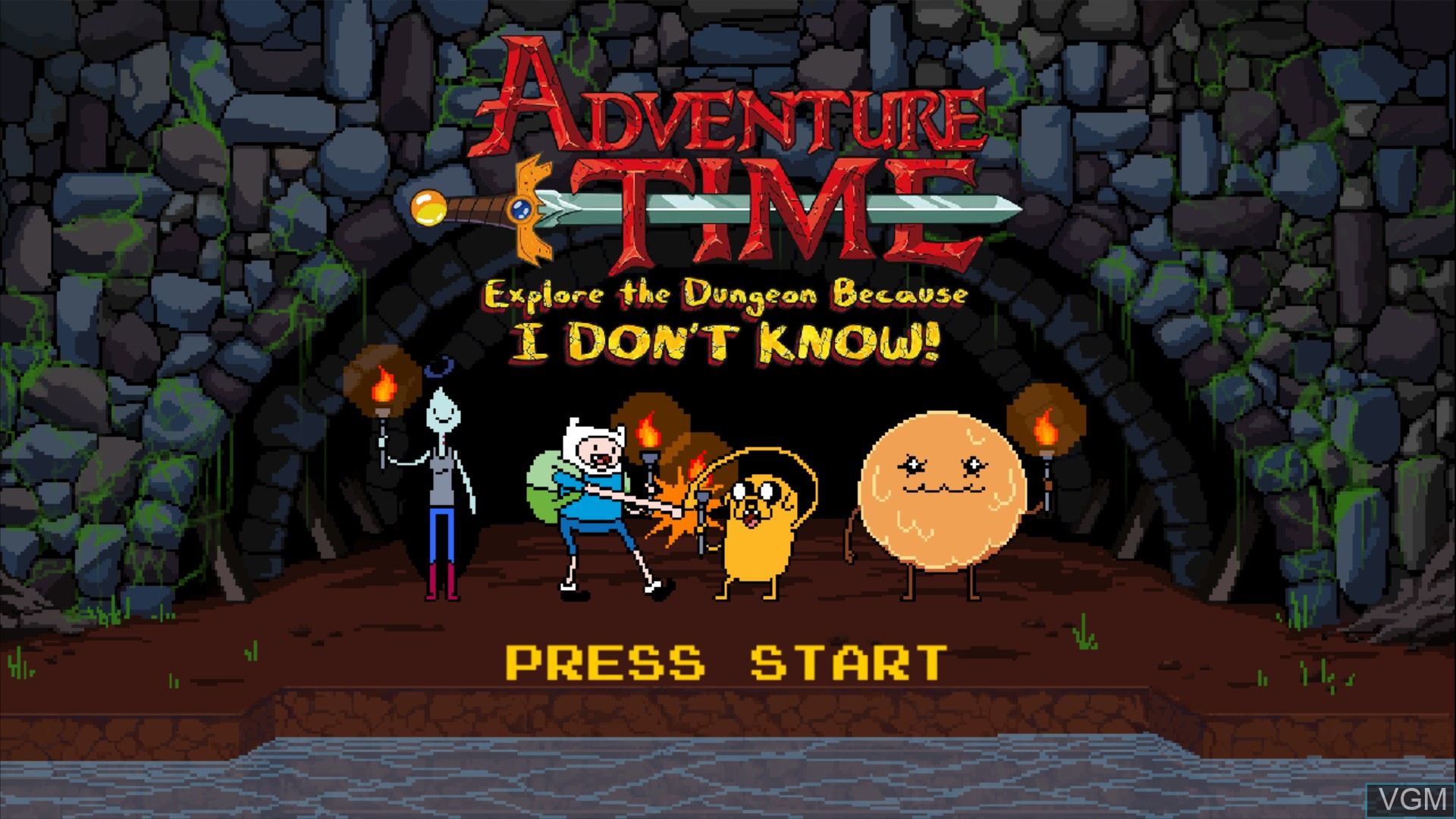 Title screen of the game Adventure Time - Explore the Dungeon Because I DON'T KNOW! on Microsoft Xbox 360