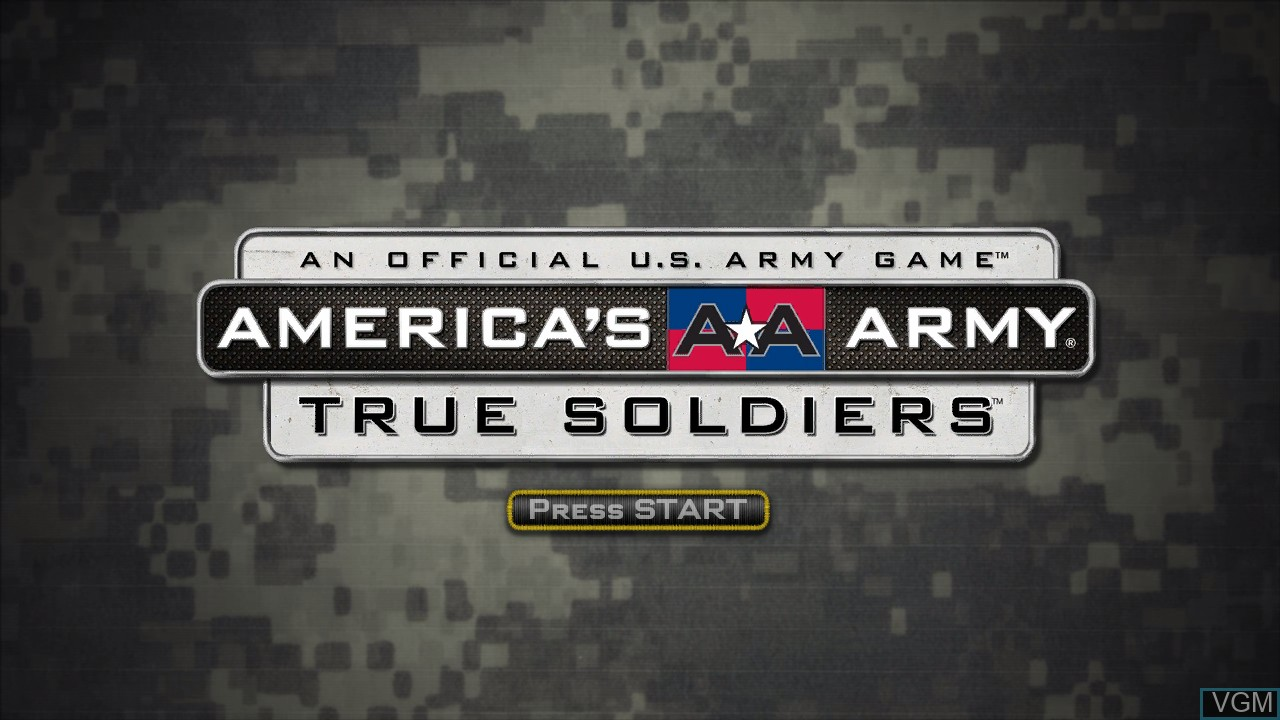 Title screen of the game America's Army - True Soldiers on Microsoft Xbox 360