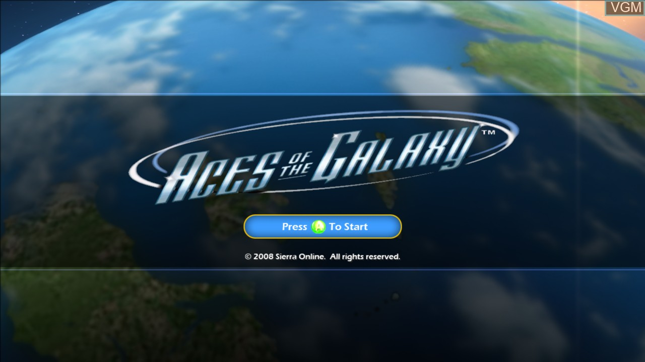 Title screen of the game Aces of the Galaxy on Microsoft Xbox 360