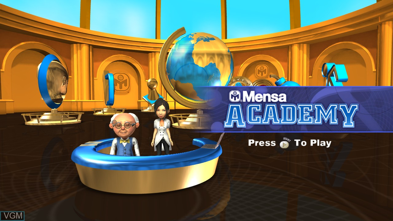 Title screen of the game American Mensa Academy on Microsoft Xbox 360