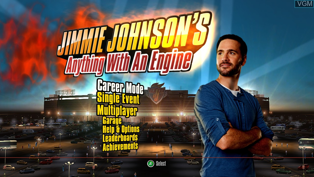 Title screen of the game Jimmie Johnson's Anything With an Engine on Microsoft Xbox 360