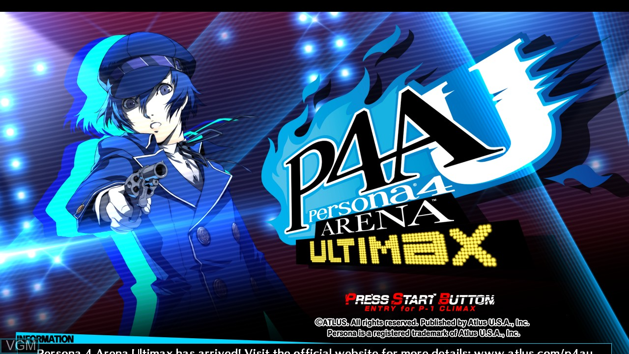 Title screen of the game Persona 4 Arena Ultimax on Microsoft Xbox 360