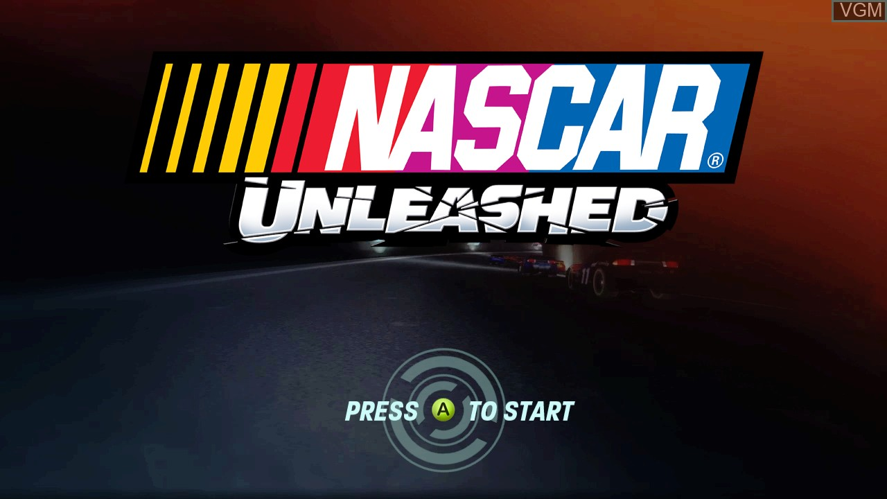 Title screen of the game NASCAR Unleashed on Microsoft Xbox 360