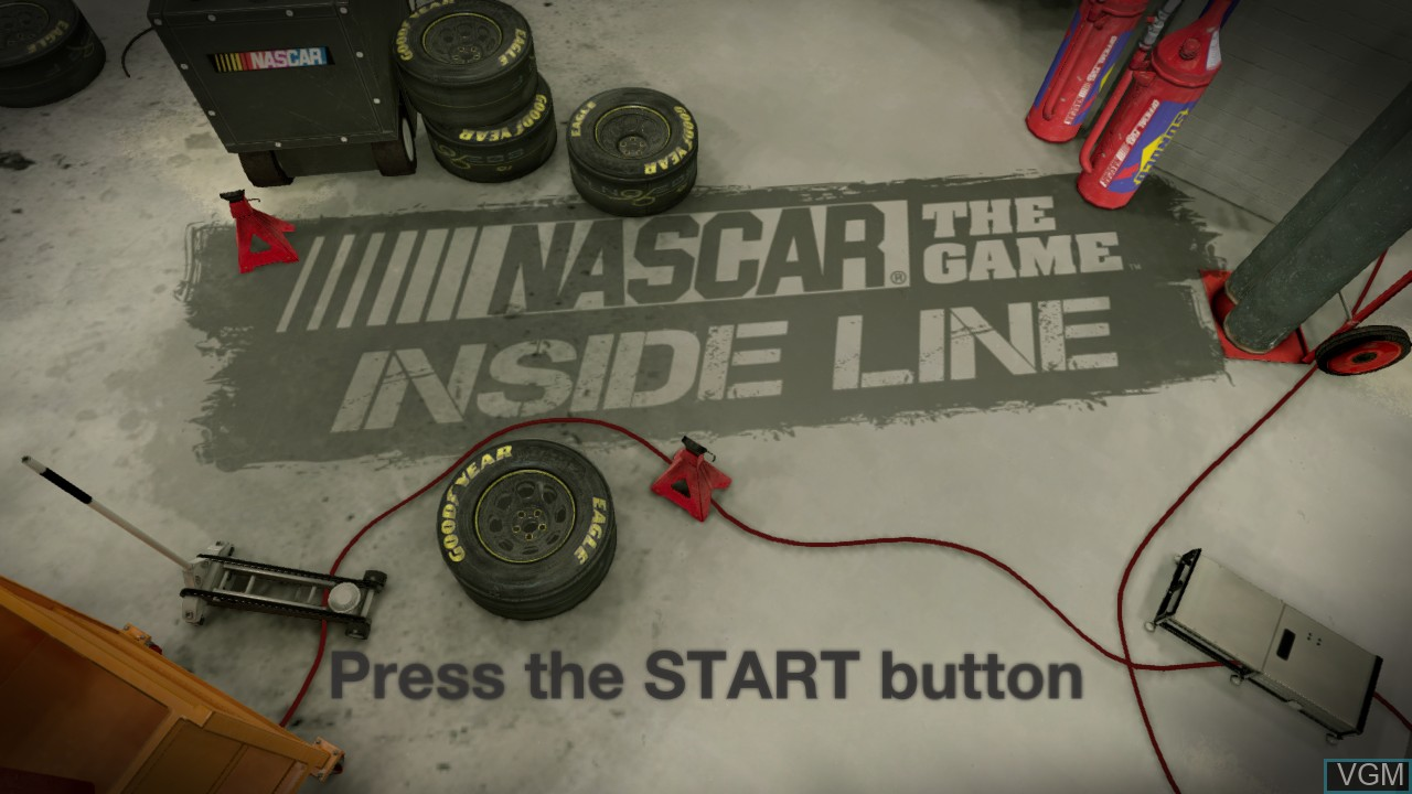 Title screen of the game NASCAR The Game - Inside Line on Microsoft Xbox 360