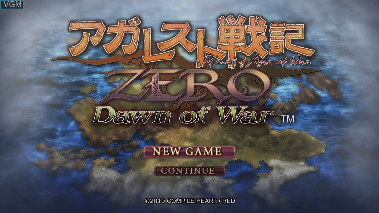 Title screen of the game Agarest Senki Zero - Dawn of War on Microsoft Xbox 360
