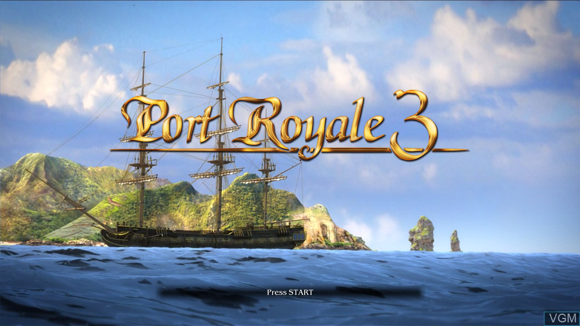 Title screen of the game Port Royale 3 - Pirates and Merchants on Microsoft Xbox 360