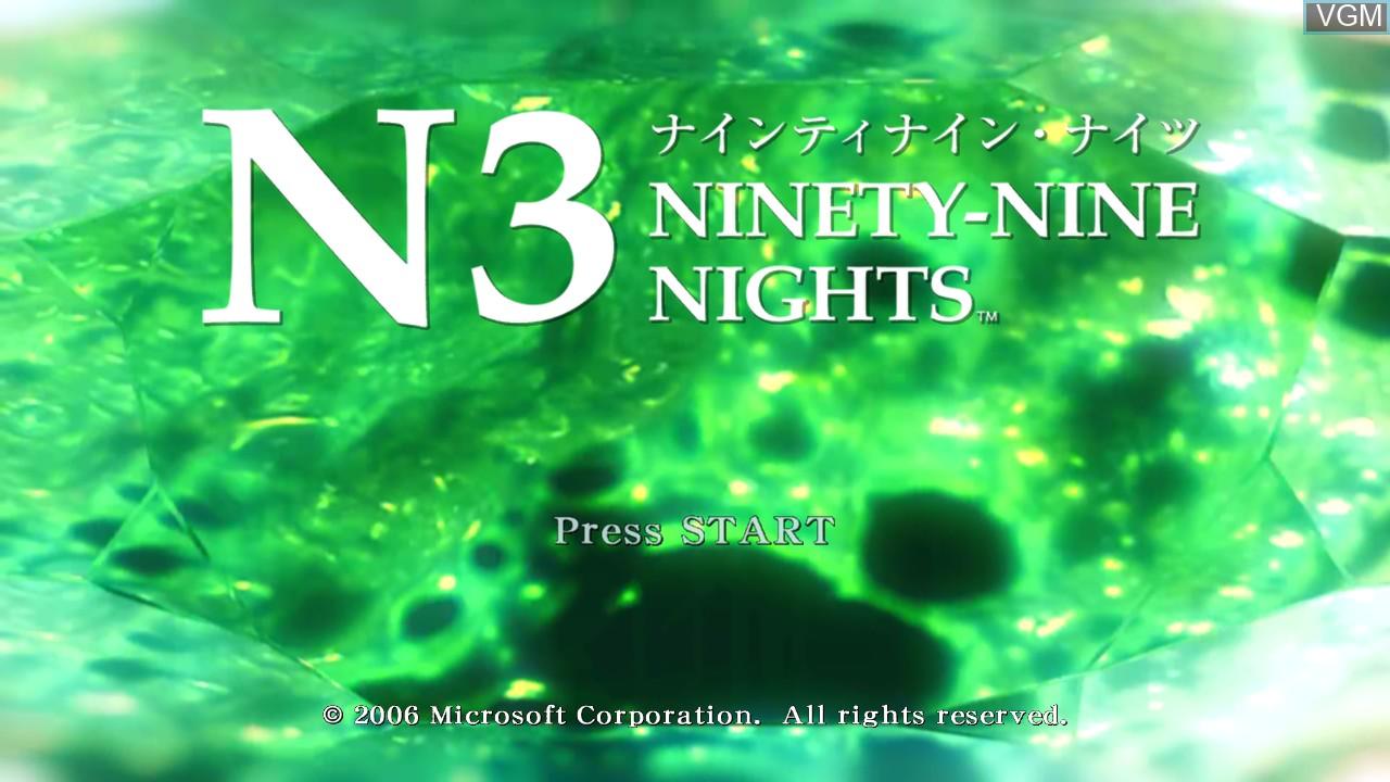 Title screen of the game N3II - Ninety-Nine Nights on Microsoft Xbox 360