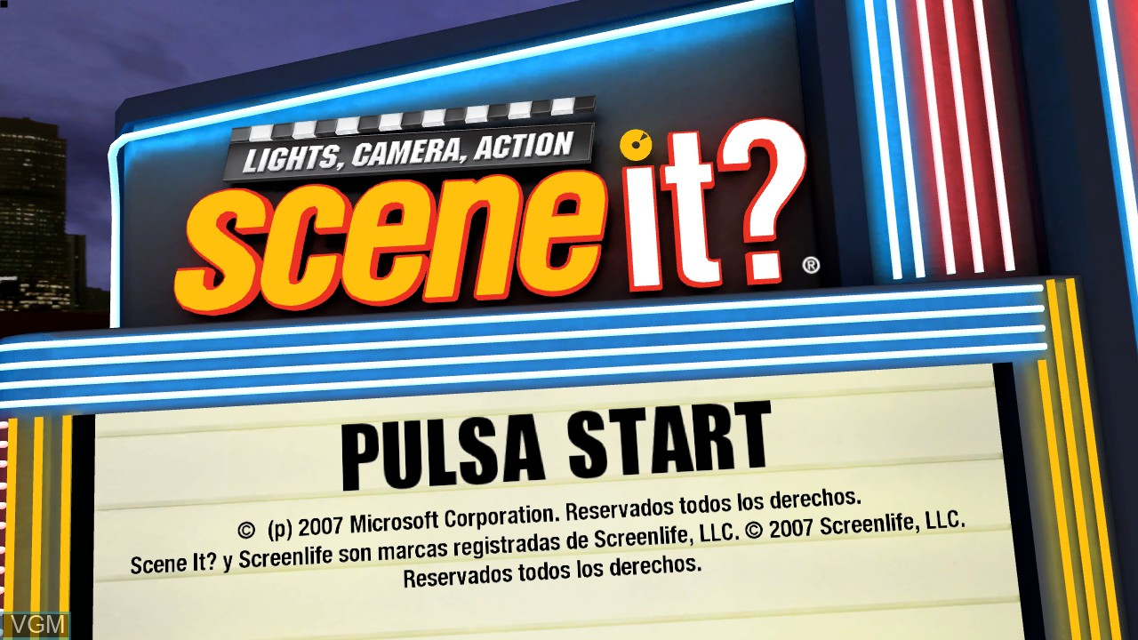Title screen of the game Scene It? Lights, Camera, Action on Microsoft Xbox 360