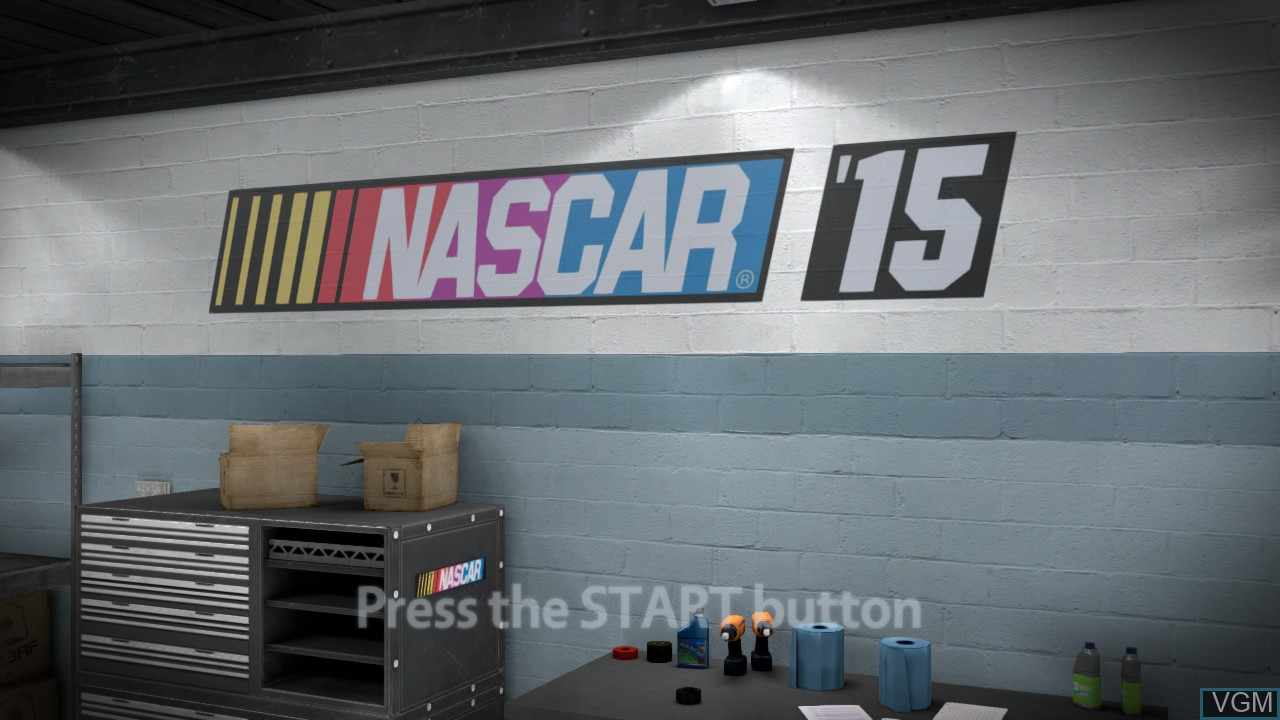 Title screen of the game NASCAR '15 on Microsoft Xbox 360
