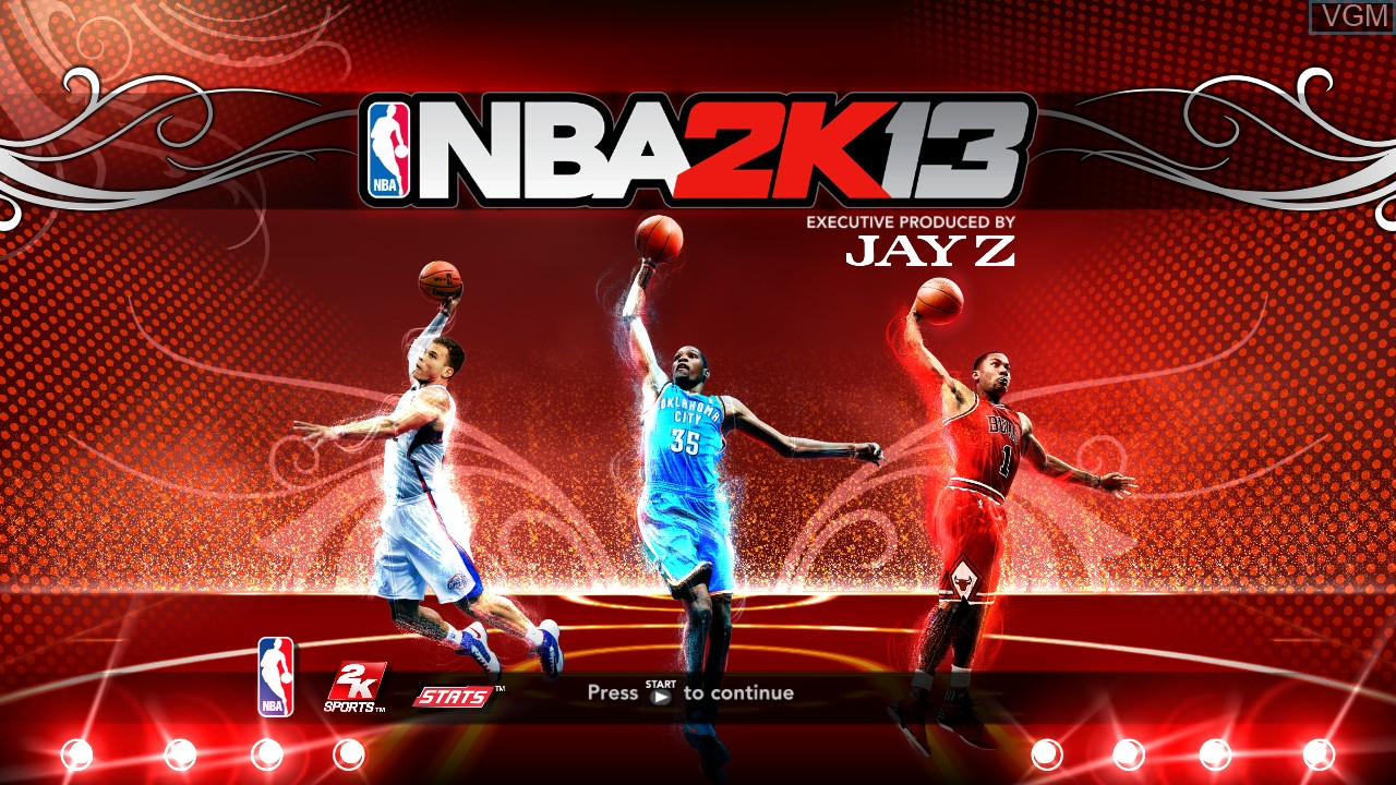 Title screen of the game NBA 2K13 on Microsoft Xbox 360