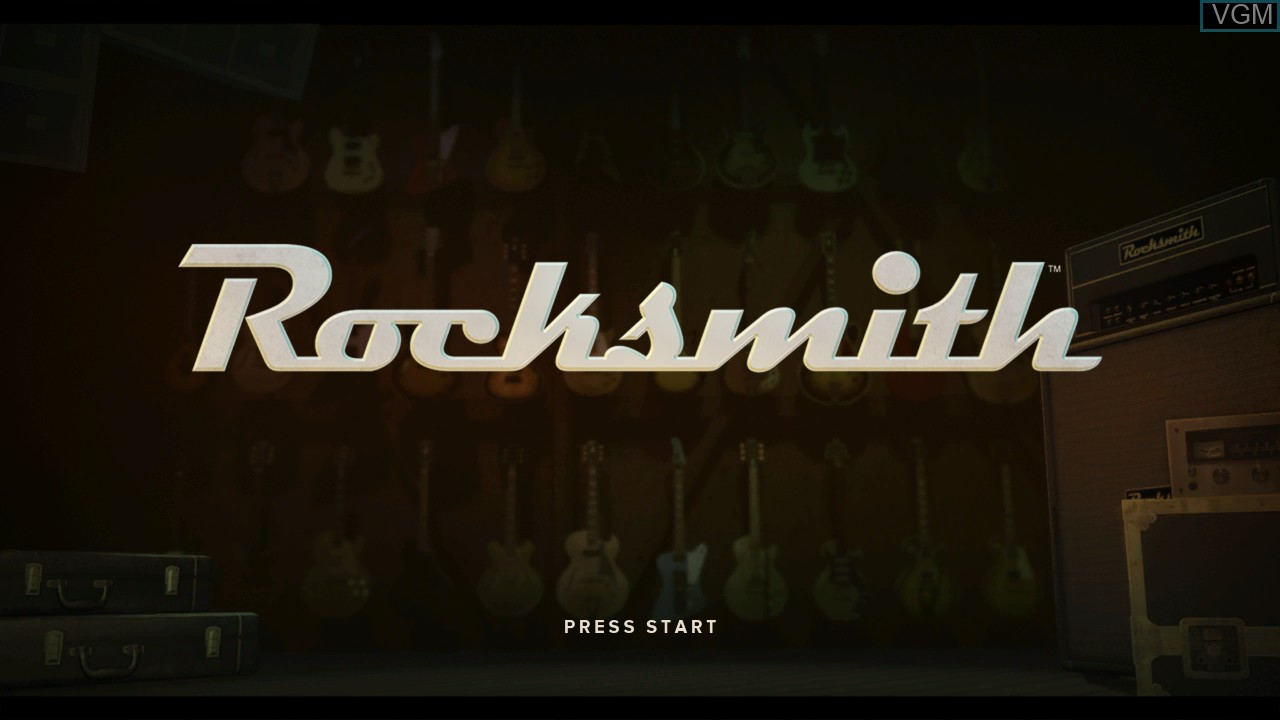 Title screen of the game Rocksmith on Microsoft Xbox 360