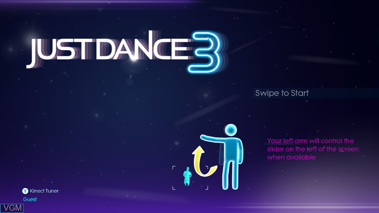 Title screen of the game Just Dance 3 on Microsoft Xbox 360