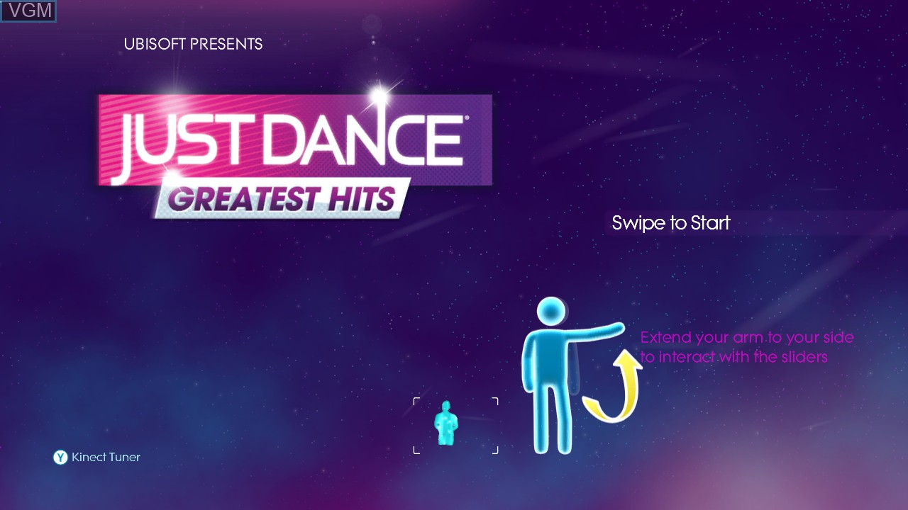Title screen of the game Just Dance - Greatest Hits on Microsoft Xbox 360