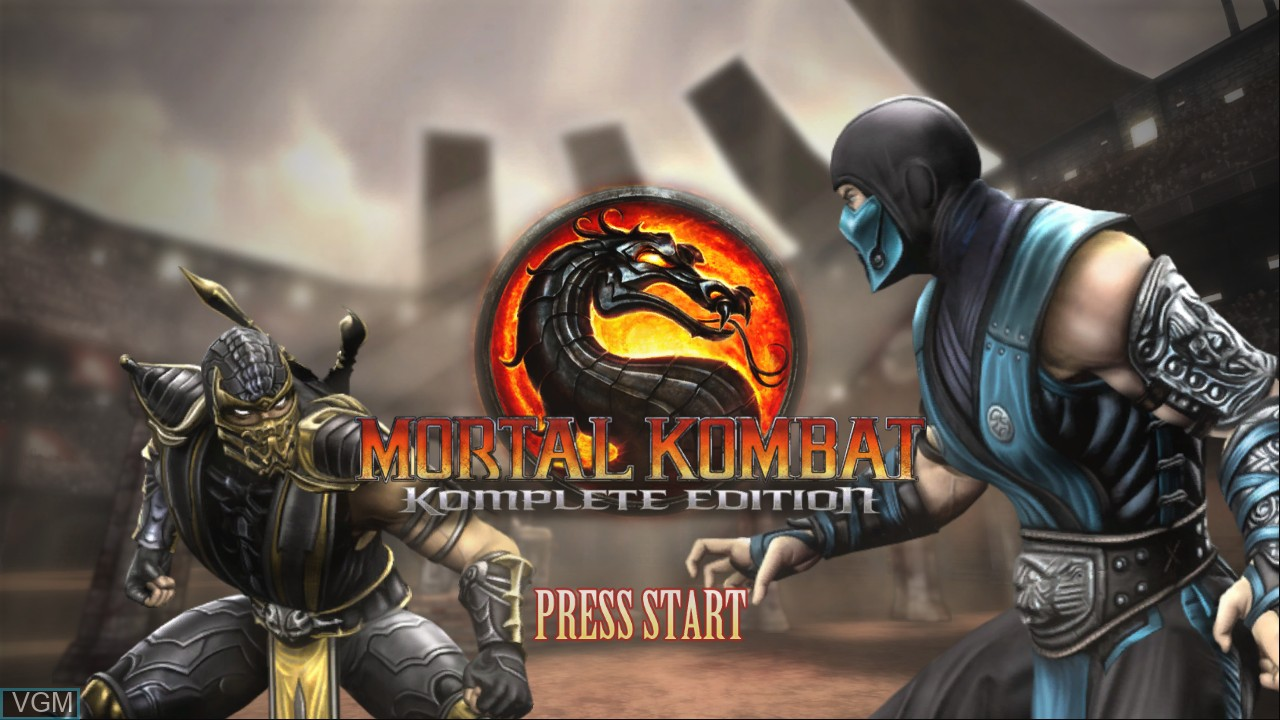 Title screen of the game Mortal Kombat Komplete Edition on Microsoft Xbox 360