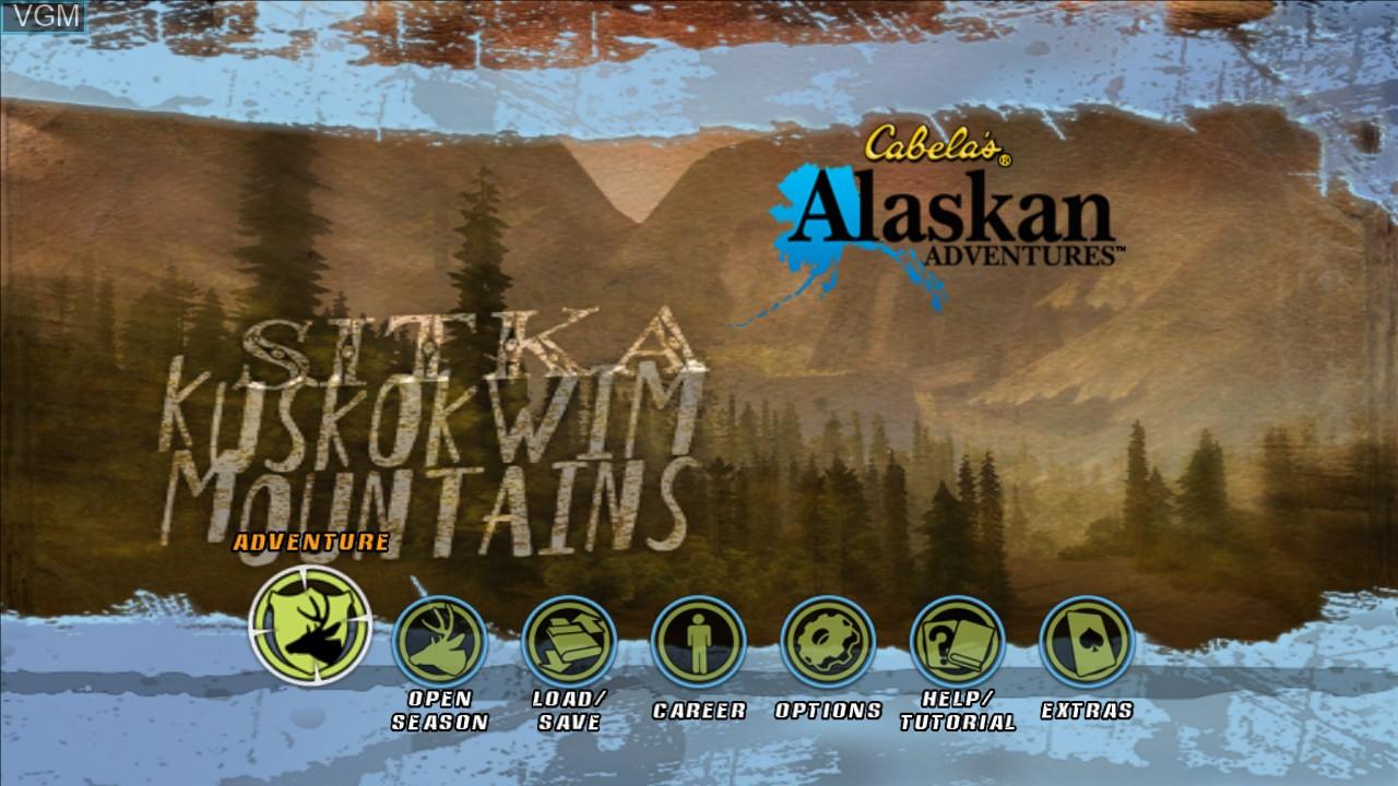 Menu screen of the game Cabela's Alaskan Adventures on Microsoft Xbox 360