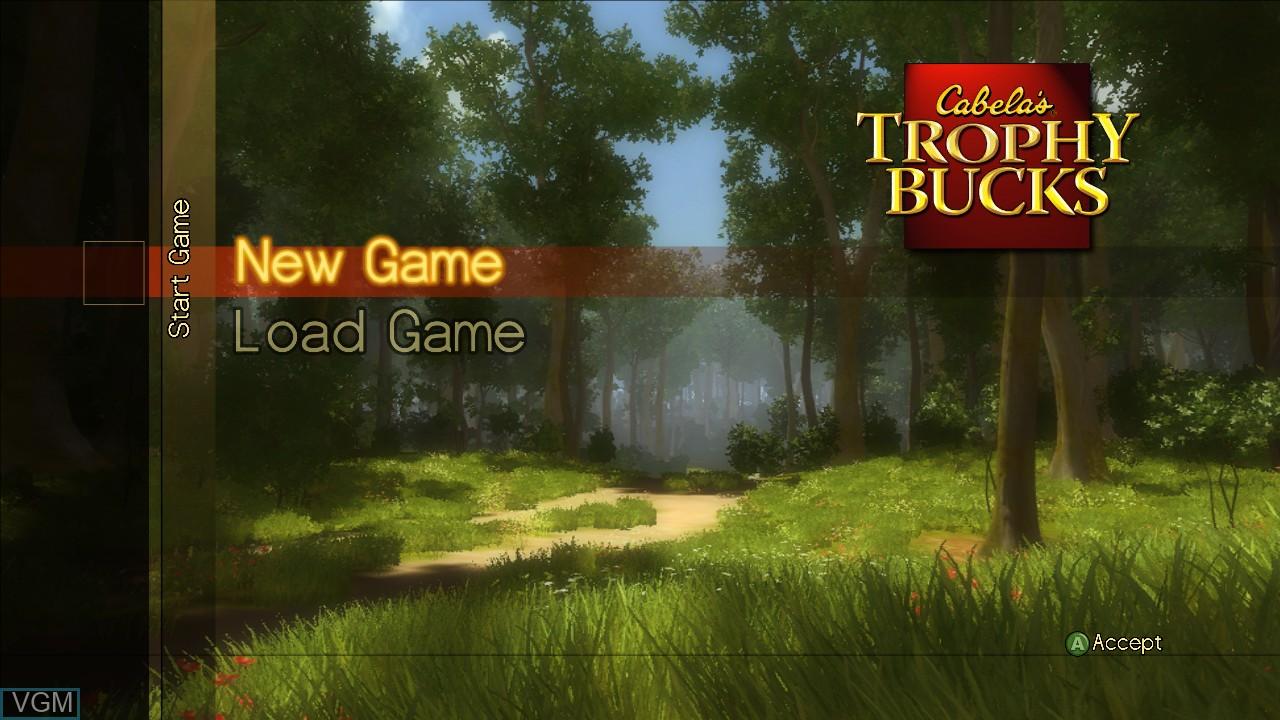 Menu screen of the game Cabela's Trophy Bucks on Microsoft Xbox 360