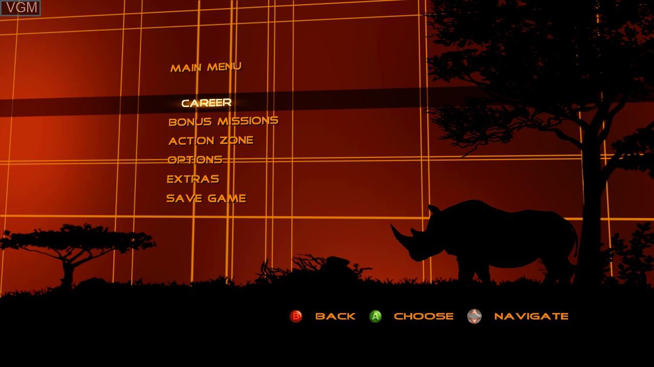 Menu screen of the game Cabela's Dangerous Hunts 2009 on Microsoft Xbox 360